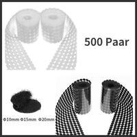 500 Paar 10 15 20 mm Klettpunkte Rund Klettverschluss selbstklebend Klebepunkte