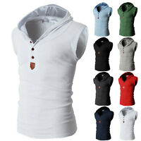 New Tops Hooded Mens Casual Vest Slim Fit V-neck T-shirt Short Sleeve 8 colors s