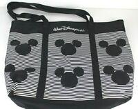 WALT DISNEY WORLD Parks Tote Bag Purse Black White Striped Mickey Mouse Ears