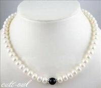 "Fashion 7-8MM Natural White Akoya Cultured Abacus Pearl Necklace 18"" AAA+"
