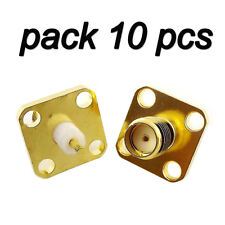 10 Pcs SMA Female Jack Chassis Flange Panel Mount 4 Hole RF Solder Connector