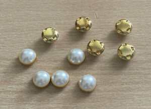 10 Pearl Gold Buttons 12mm Sew On Gold Base Bead Jewel Four Hole