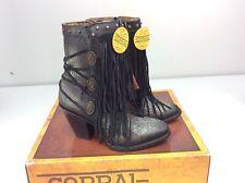 Corral C3350 Cowboy Western Bootie Boots Black Size 6 Ankle Short Fringe Studs