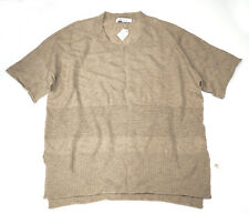 Kokun 100% cashmere short-sleeve sweater perforated stripe large l NWT