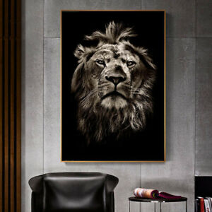 Lion Head Animal Art Poster Canvas Wall Print Modern Living Room Decoration