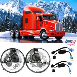 "Pair 7"" Inch Round Chrome LED Headlight Hi/Low Beam For Kenworth T2000 1997-2011"