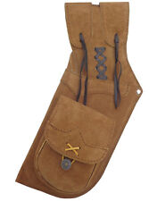 """TRADITIONAL SUEDE LEATHER SIDE HIP ARROW QUIVER  HL#112 BROWN - 20"""" LONG L/H."""