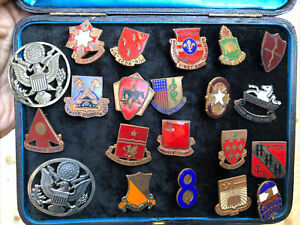 19 Authentic US Military DI DUI Unit Crest Insignia S-21 Emblems Pins Wow!!