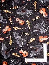 Music Theme Fabric - Piano Trumpet Sax Note Toss Timeless Treasures C3115 - Yard