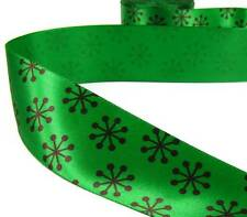 "5 Yds Christmas Green Modern Snowflake Satin Ribbon 1 1/2""W"