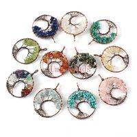 Tree of life Pendant Amethyst Rose Quartz Leather Necklace Stone Chakra Jewelry