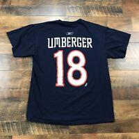 Columbus Blue Jackets R.J. Umberger Hockey Jersey T-Shirt Mens Size Small CBJ #8