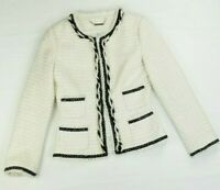 White House Black Market Size 8 Women's Jacket Cream Tweed Silver Thread Trim