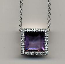 """9ct real white gold square Diamond & Amethyst pendant 18"""" necklace trace chain"""