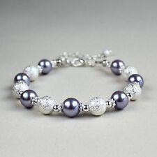 Silver stardust lilac mauve purple pearl beaded bracelet wedding bridesmaid gift