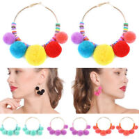 Cute Women Boho Pom Ball Tassel Long Ear Stud Dangle Drop Earring Jewelry 1 pair