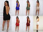 Mujer Espalda Baja manga larga espalda descubierta Vestido Ceñido Fiesta