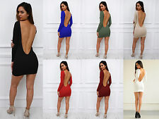 New Womens Ladies Low Back Long Sleeve Backless Bodycon Party Pencil Mini Dress
