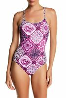 Tommy Bahama Tiles of Tropic Criss-Cross Back One-Piece Swimsuit (Wild Orchid,8)