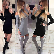 UK Womens Cold Shoulder High Neck Ladies Party Casual Bodycon Mini Jumper Dress