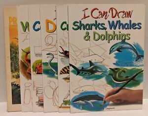 Lot of 6 Draning Books - 5 I Can Draw & 1 How to Draw - Animals, Cars, Dinosaurs