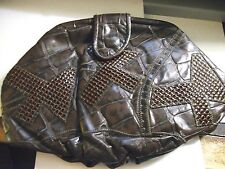 """Vintage Leather Brown """"Croco"""" Purse From 1980 - Genuine Leather! Made In The USA"""
