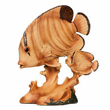 Naturecraft Wood Effect Resin Statue Ornament Figurine - Fish