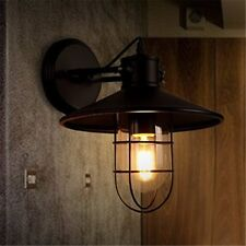 Metal Wall Light Sconce Black Cage Glass Vintage Industrial Warehouse Barn Porch