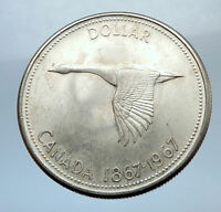 1967 CANADA - CANADIAN Confederation Founding Silver Dollar Coin w GOOSE i70758
