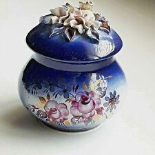 Ceramic Cobalt Blue Jar Overlay Floral Lid Hand Painted