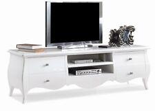 Mobile Soggiorno Porta tv stereo Bombato plasma 4 cassetti LACCATO BIANCO