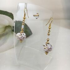 Womens Handmade Ceramic Stone Gold White Floral Pierced Dangle Earrings