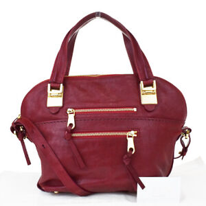 Authentic CHLOE Angie 2Way Shoulder Hand Bag Leather Bordeaux Italy 30MG775