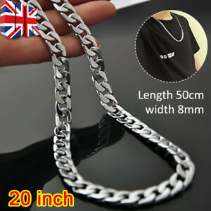Men 925 sterling Thick Silver 8MM solid Men Curb Chain Necklace Hip Hop Rock UK
