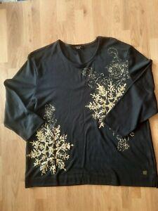 Gorgeous Black & Gold Christmas Top size 22-24  By Tigi
