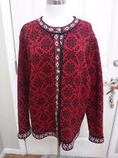 Women's L.L. BEAN XL Norwegian Red Snowflake Knit Button Cardigan Sweater Jacket