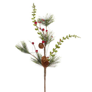 Factory Direct Craft Holiday Pine, Red Berry, and Pinecone Spray with Decor