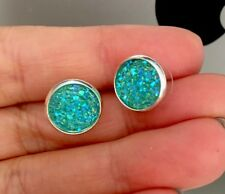 12mm Sparkly Blue  Round Druzy Earrings Studs Bridesmaid GIFT Jewellery Birthday