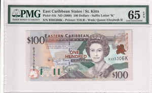 2000 East Caribbean States/St. kitts 100 Dollars P-41k  PMG 65 EPQ Gem UNC