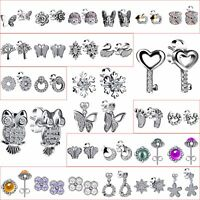 Fashion Women Girl 925 Silver Plated Crystals Zircon Ear Stud Dangle Earrings