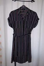 New Look Ladies Black White Red Striped Mid Thigh Shirt Dress Uk 10