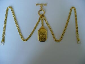 double albert gold plated pocket watch chain vintage double  locket  fob t bar