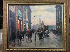 """Large Francois Gerome Impressionist Street Scene, """"Place de la Concorde, Paris"""""""