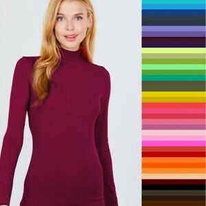 T Shirt Turtleneck Long Sleeve Light Weight Active Basic Stretch Top S/M/L