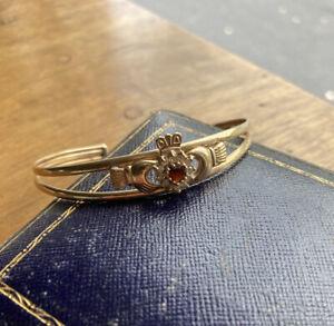 9ct Gold Claddagh Bangle Bracelet Garnet Gemstoned