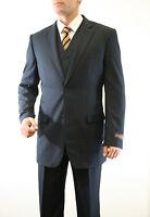 Men's 3 Piece Business Pinstripe Notch Lapel 2 Button Jacket Classic Fit Suit