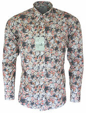 Relco Mens PLATINUM COLLECTION Floral Flower Long Sleeved Button Down Shirt Mod