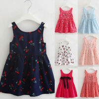 Infant Baby Girls Summer Bow Floral Sleeveless Casual Princess Dress Clothing P