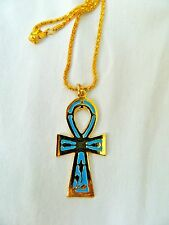 """Egyptian Metal Gold Plated Ankh Necklace With Blue / Black /Turquoise Color 2.3"""""""