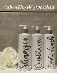 White Bathroom Bottles. Shampoo, Conditioner, Body Wash Pump Bottles Mrs Hinch